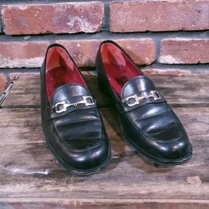 Vtg Salvatore Ferragamo Gancini Leather Loafers